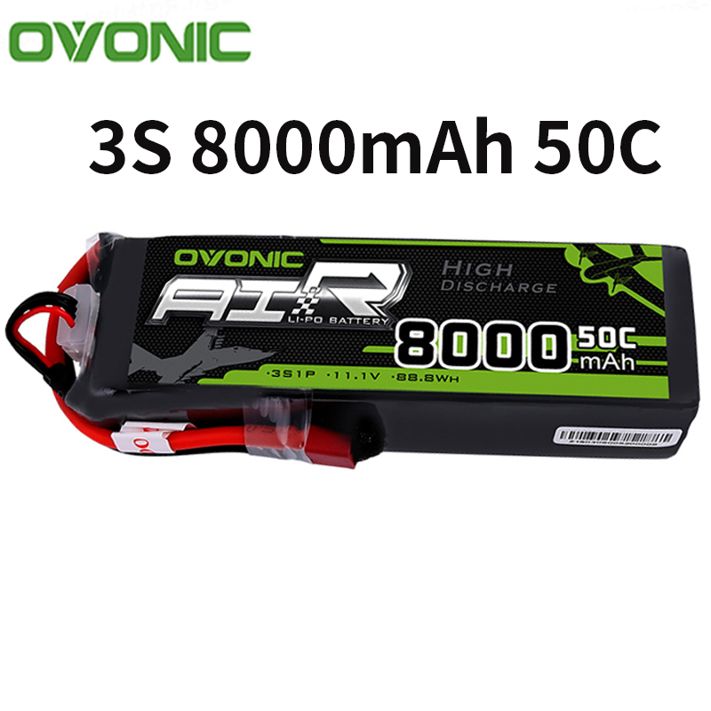 Ovonic <font><b>3S</b></font> 11.1V 50C <font><b>8000mAh</b></font> <font><b>Lipo</b></font> Battery with Deans T Plug for RC Airplane Helicopter Car Truck Boat image