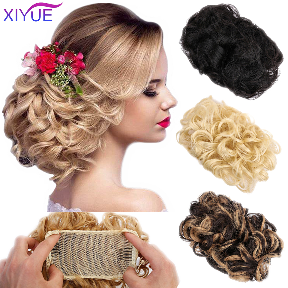 Synthetic Flexible Clip In Hair Buns Curly Scrunchy Chignon Elastic Messy Wavy Scrunchies Wrap For Ponytail Extensions For Women