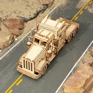 Robotime 1:40 286 stücke Klassische DIY Beweglichen 3D Amerika Schwere Lkw Holz Puzzle Spiel Montage Spielzeug Geschenk für Kinder Erwachsene MC502