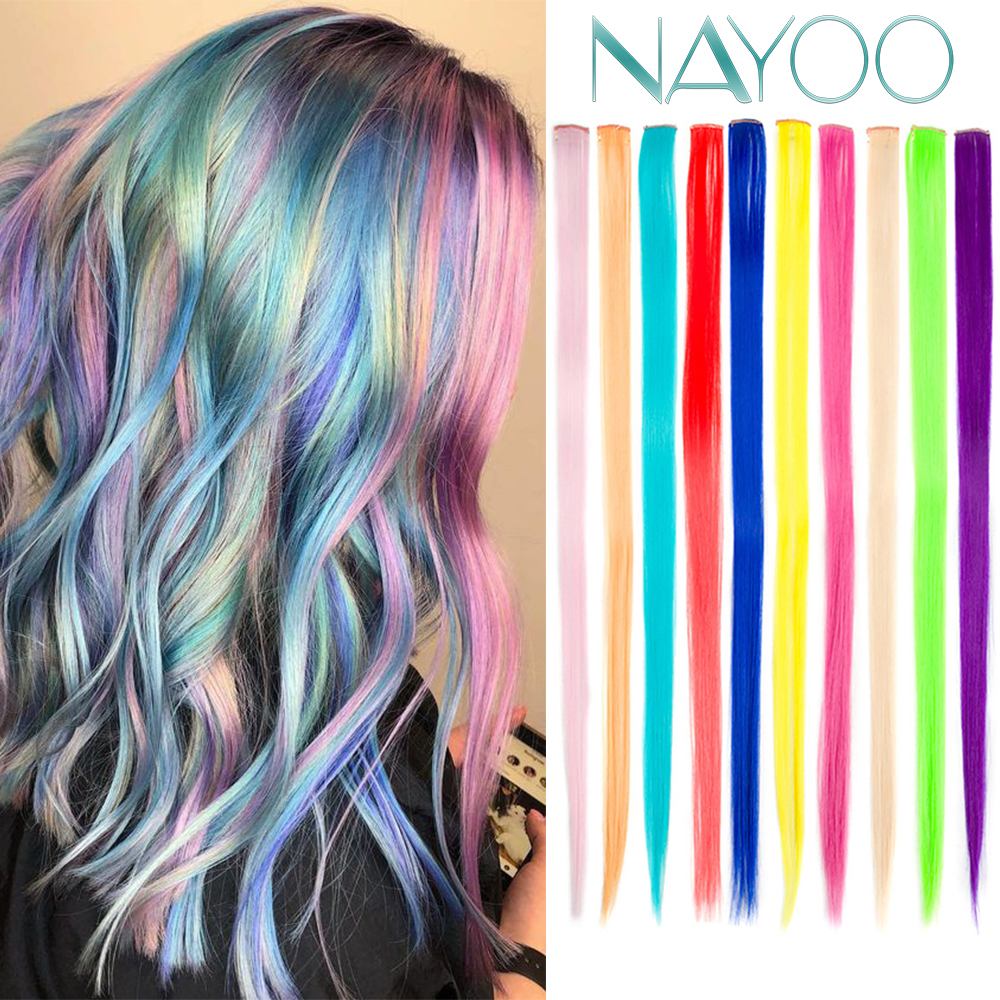 Nayoo Straight Colored Highlight Synthetic Hair Extensions Clip In One Piece Rainbow Streak Pink Hair Strands For Women Girl