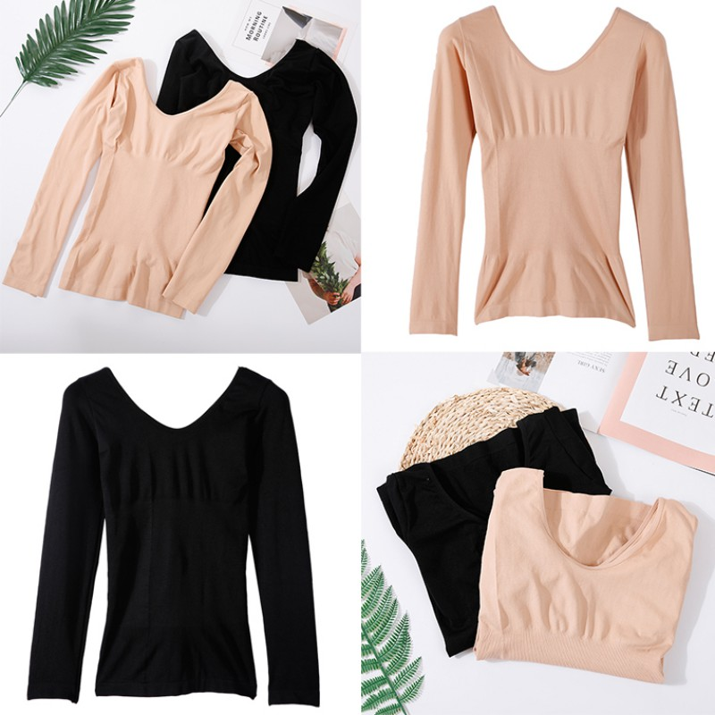 Women Thermal Underwear Top Thin Section Solid Color Shirt V-neck Seamless Body Long-sleeved Base T-shirt
