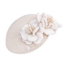アイボリー女性ベレー帽魅惑的な帽子の花のベールウールfascinatorsピルボックス帽子カクテルパーティー結婚式帽子レディースfedoras A223