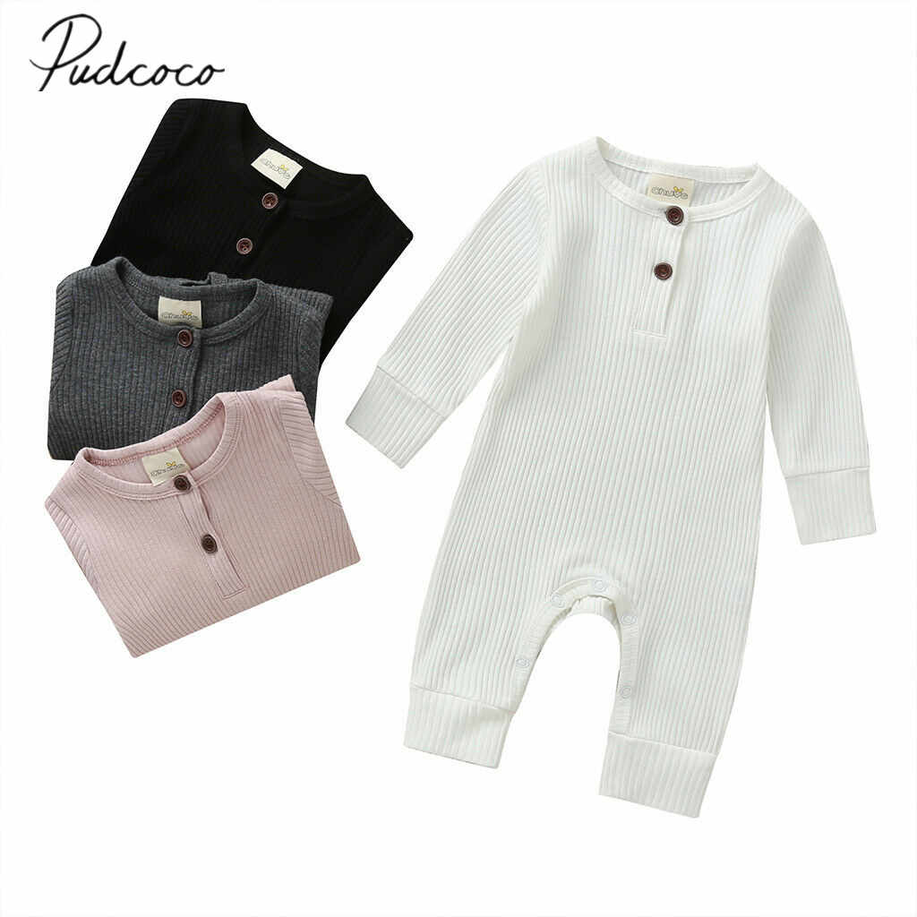 2020 Baby Spring Autumn Clothing Newborn Infant Baby Boy Girl Cotton Romper Knitted Ribbed Jumpsuit Solid Clothes Warm Outfit