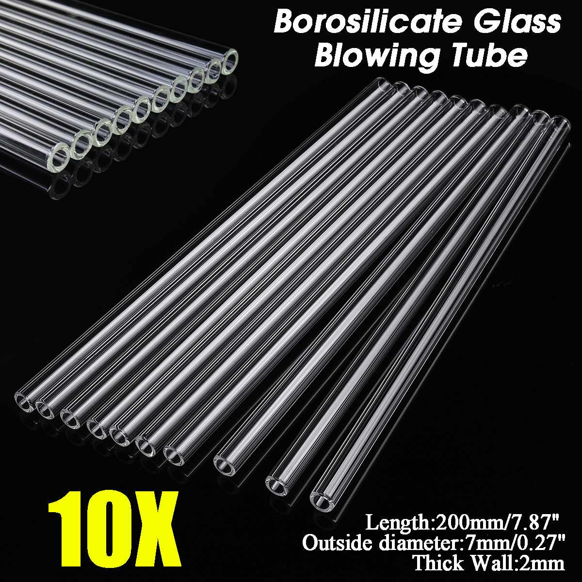 10Pcs Wholesale 200x7x2mm Thick Transparent Wall Borosilicate Glass Blowing Tube Mixer Rod For School Lab Chemical Experiment