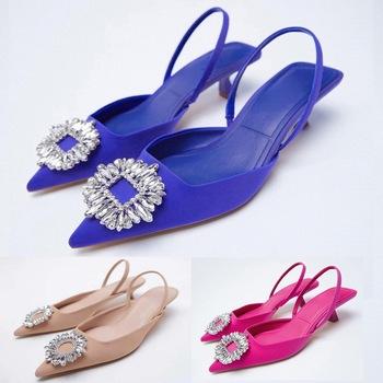 ZA letnie klapki 2021 nowe buty damskie różowe różowe szpiczasty nosek buty ślubne cekinowe odsłonięte buty dokumentalne 6 kolorów tanie i dobre opinie Menore podstawowe Szpilki CN (pochodzenie) Mikrofibra Z niewielkim szpicem 0-3 cm Niska (1 cm-3 cm) Dobrze pasuje do rozmiaru wybierz swój normalny rozmiar