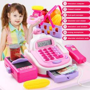 Calculator Register Kids Children Cashier with Microphone And Sounds Pretend-Play-Toys