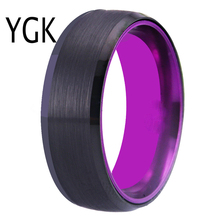 Wedding Band Rings For Women Classic Tungsten Black with Purple Aluminum Engagement Ring Free Custom Engraving