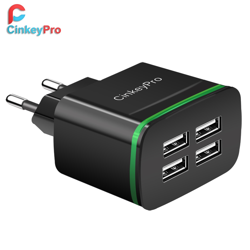 CinkeyPro Cargador USB para iPhone Samsung Android 5V 4A 4 puertos Teléfono móvil Universal Fast Charge LED Light Wall Adapter