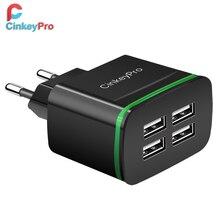 CinkeyPro USB Ladegerät für iPhone Samsung Android 5V 4A 4 Ports Handy Universal Schnelle Ladung FÜHRTE Licht wand Adapter