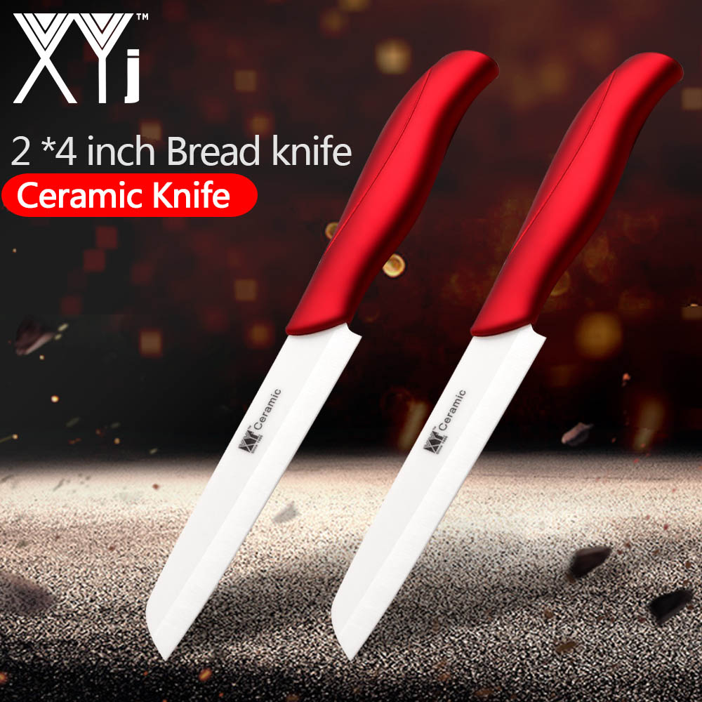 XYj 2 PCS 4 inch Santoku Ceramic Knife Japanese Chef Knife Bread Cutter Cooking Knives Sharp Comfortable Handle Cooking Tools image