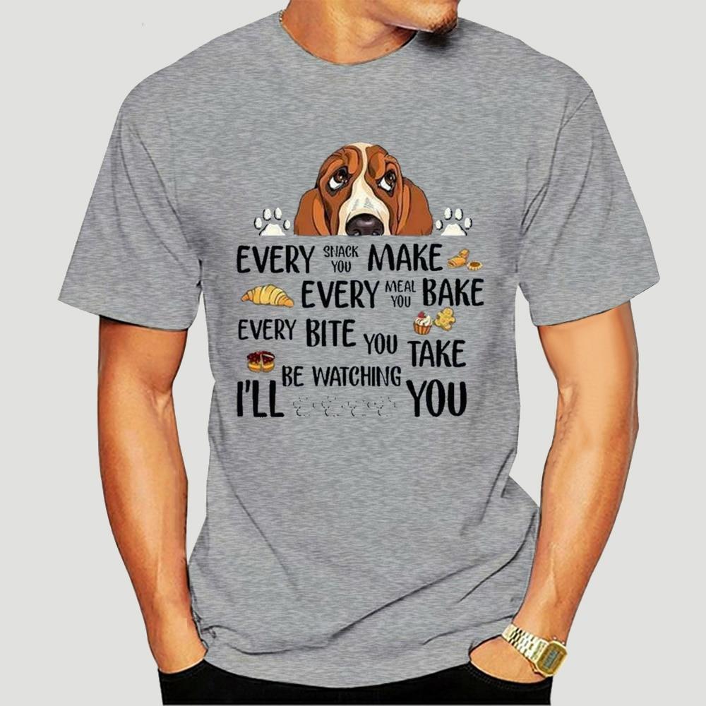 Basset Hound Cada Lanche Que Faz Mal Estar você Assistindo você Senhorascinza Street Wear moda 2021 ano novo T-shirt