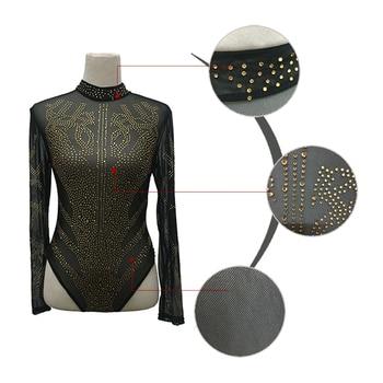 Sexy Gold Diamond Sheer Mesh Bodysuit Women Long Sleeve Turtleneck Autumn Outwear Body Tops Tee Party Club Jumpsuit Rompers 10