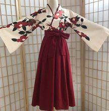Kimono sakura menina estilo japonês floral impressão vintage vestido mulher oriental camélia amor traje haori yukata asiático roupas