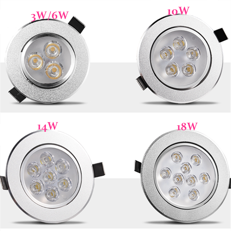 Round Dimmable Downlights 3W 6W 10W 14W 18W LED Ceiling lamp recessed COB Ceiling Spot lights ac85-265V LED Indoor Lighting image