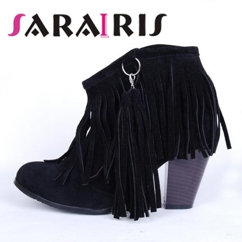 SARAIRIS/Женская обувь на высоком каблуке с кисточками черного, коричневого и розового цвета размера плюс 48 2019 г., женские ковбойские ботинки ви