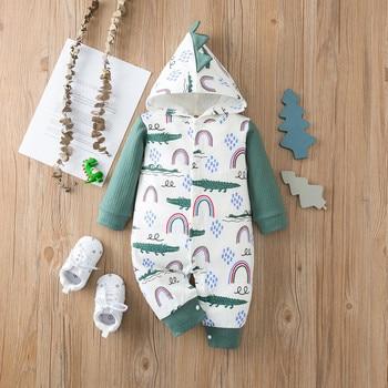#45 0M-24M Infant Baby Boys Girls Fashion Cute Print Long Sleeve Dinosaur Hooded Coat jacket Romper Jumpsuit детская одежда