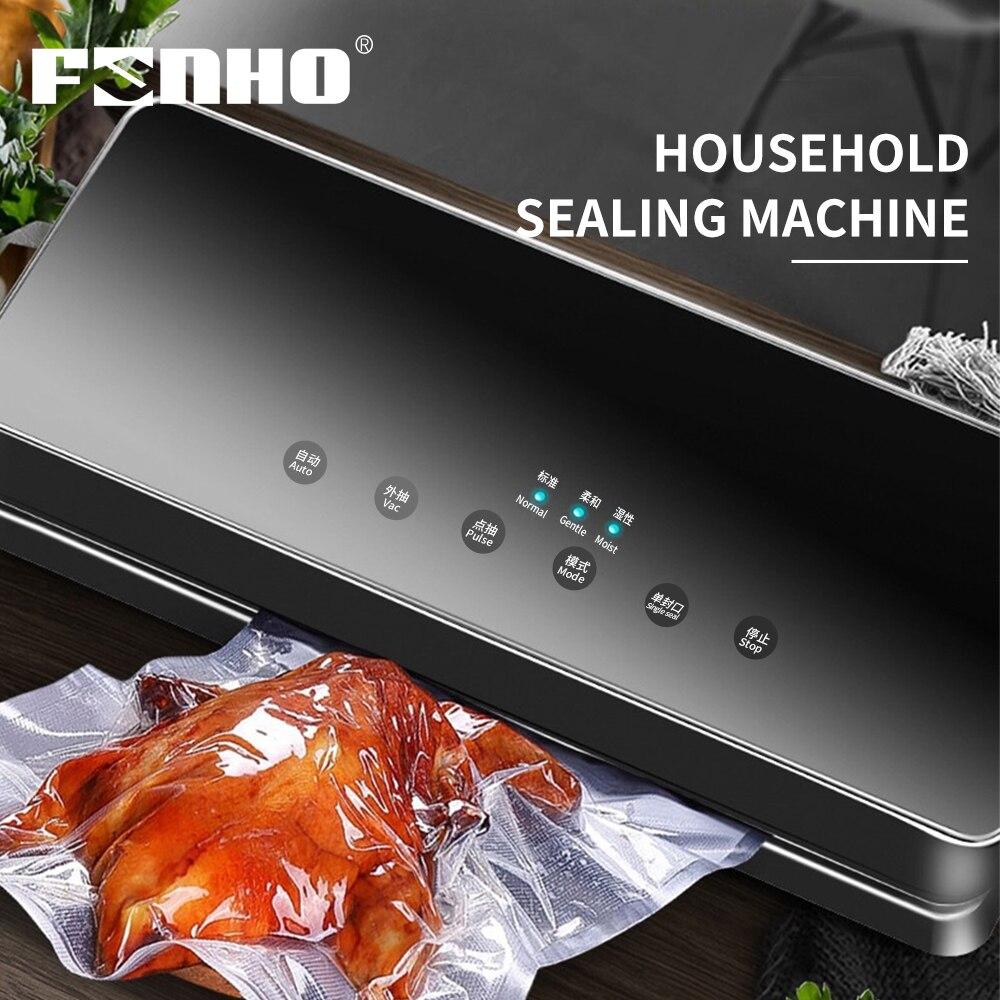 FUNHO Food Vacuum Sealer Packaging Machine With 10pcs Bag Automatic Electric Vacuum Food Sealing Machine Vacuum Packer Household