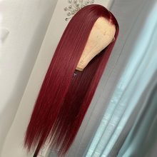99J Burgundy Long Wig Straight Colored Human Hair Wigs For Women Dark Red Lace Part Wig