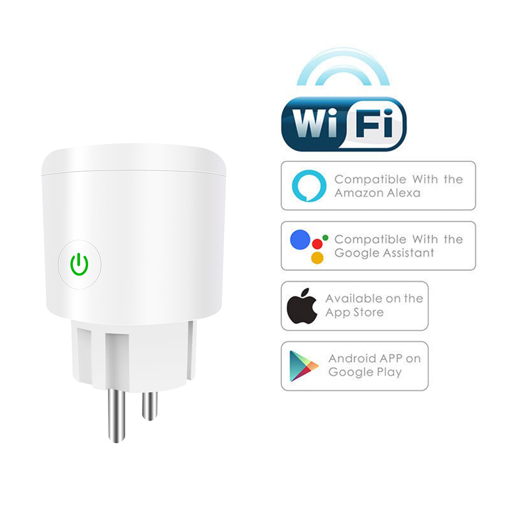 Smart WiFi Plug Adapter 10/16A Remote Voice Control Monitor Power Socket Work Timing Socket With Alexa Google Home Tuya EWeLink