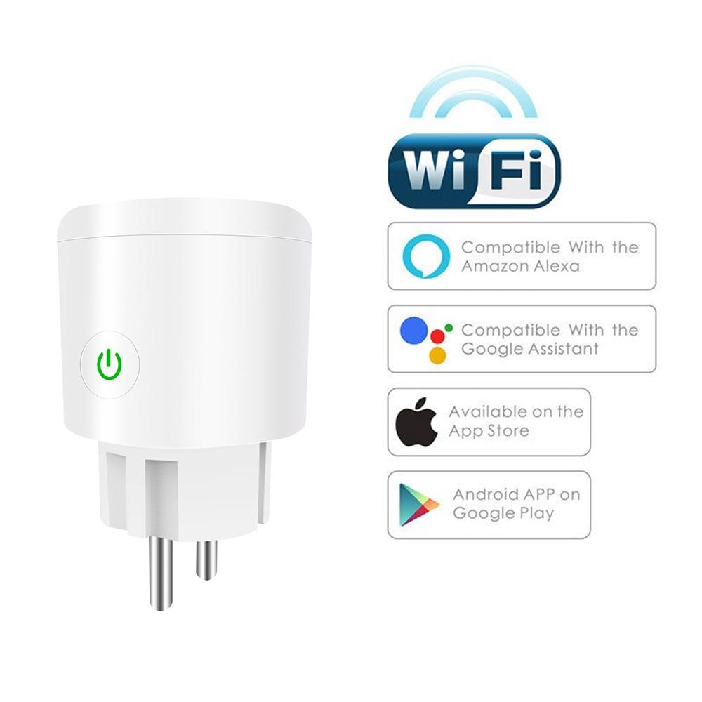 Smart WiFi Plug Adapter 10/16A Remote Voice Control Monitor Power Socket Work Timing Socket With Alexa Google Home Tuya EWeLink