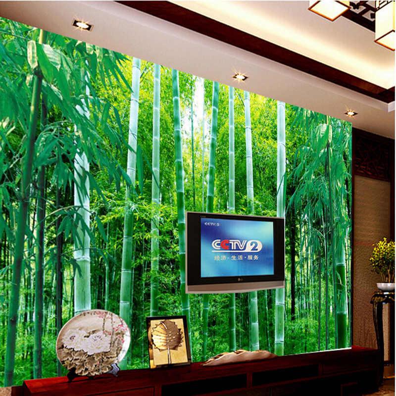 Dostosowane 3D cichy las bambusowy ścienny papierowy mural tło telewizora ściana samoprzylepna salon sypialnia zielona ochrona oczu