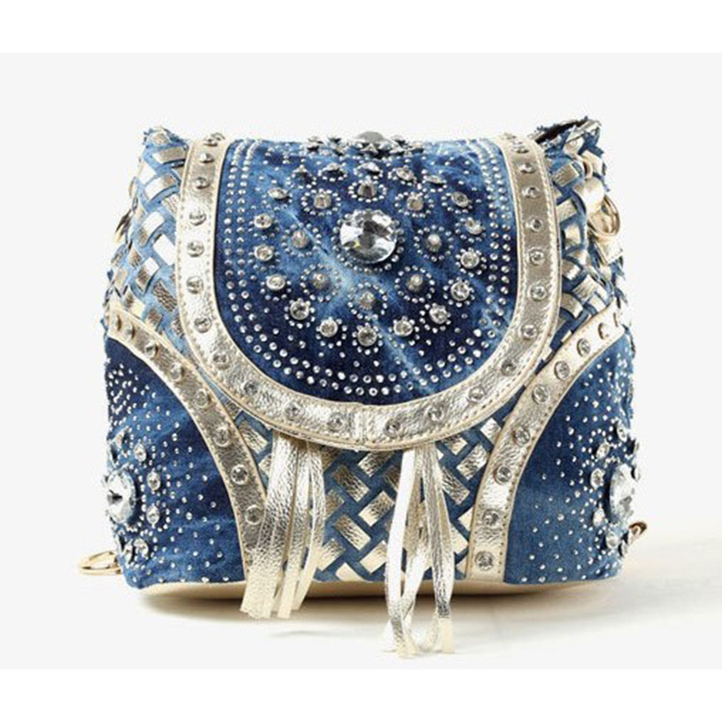 Fashion female bag denim women's handbag woven belt drill chain strap tassel shoulder bag BW01-SB-bznsdz