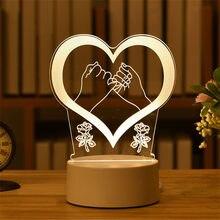 Акриловый светодиодный ночсветильник в виде медведя розы, украшение на День святого Валентина и Пасху, подарок для детей, лампа 3D в виде мед...