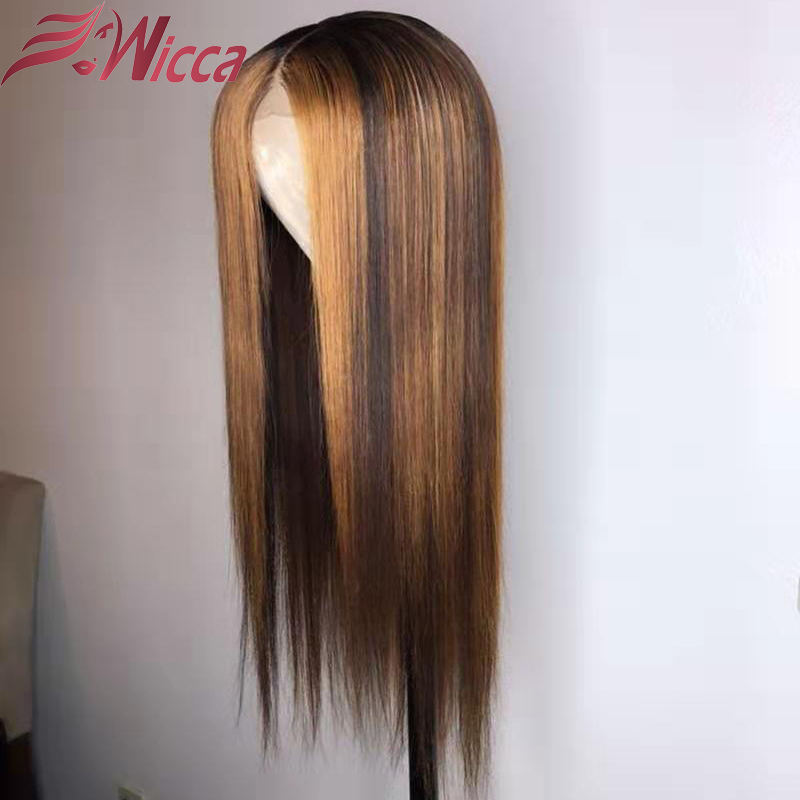 Wicca Blonde 13X6 Lace Front Wigs Highlight Straight Lace Frontal Wig With Baby Hair Brazilian Remy Human Hair Wig Pre Plucked