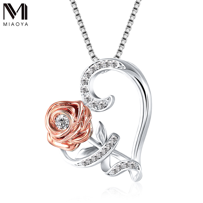 Simple Love Heart Crystal Pendant Necklace For Women Latest Statement Rose Charms Necklaces Couple Weddings Gift Fashion Jewelry