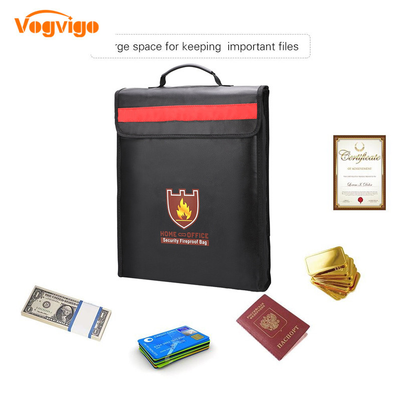 VOGVIGO Fireproof Waterproof Document Bag Fire Bag With Reflective Strip For Home And Office Waterproof Storage Safety For Files