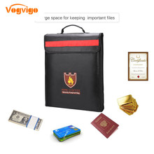 VOGVIGO Fireproof Waterproof Document Bag Fire Bag with Reflective Strip for Home and Office Waterproof Storage Safety for Files free shipping 2017new arrival fireproof rc liposafety bagguard realacc fire retardant battery bag 215 150 110mm with handle