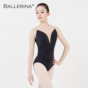 Image 1 - Justaucorps de ballet femmes aerialiste pratique danse Costume V profond fronde noir gymnastique justaucorps Adulto ballerine 5039
