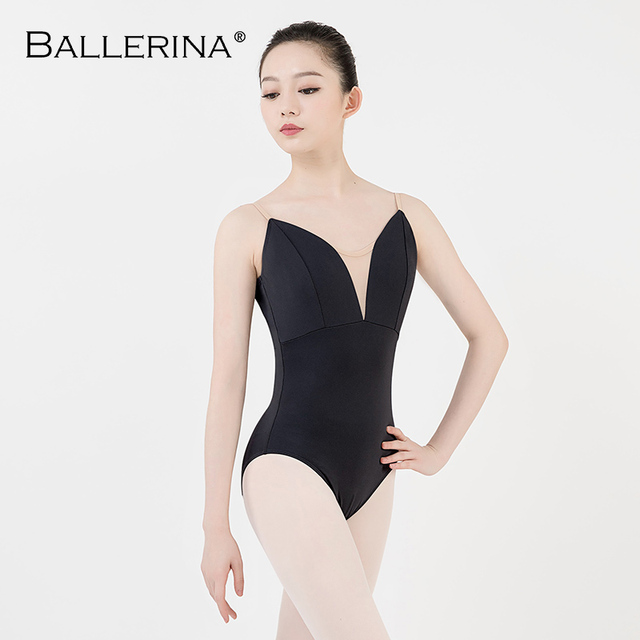 Justaucorps de ballet femmes aerialiste pratique danse Costume V profond fronde noir gymnastique justaucorps Adulto ballerine 5039