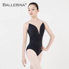 Leotardo de ballet para mujer aerialist práctica de baile disfraz deep V Sling negro gimnasia leotardo Adulto bailarina 5039