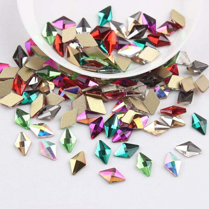 Все смешанные цвета, 30 шт, стразы для дизайна ногтей, сделай сам, без горячей фиксации, стеклянные камни для ногтей, драгоценные камни для 3D украшения для ногтей - Цвет: 5x8mm Rhombus