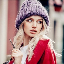 Women Winter Knitted Beanies Hat Thick Soft Warm Coarse Large Knitted Solid Hat