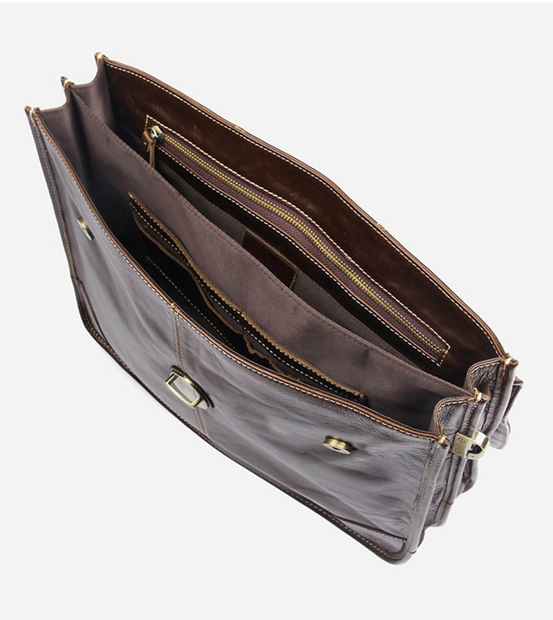 """H2792a9fc0684453d9e4a4612a01286adY Men's genuine leather briefcase 16"""" Big real leather laptop tote bag Cow leather business bag double layer messenger bag"""