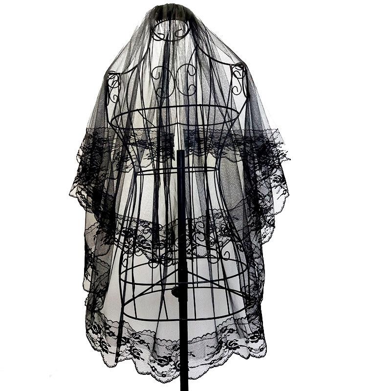 Halloween Headdress Hair Clip Comb Lace Veil Two-layer Shape Black Headband Bridal Veil