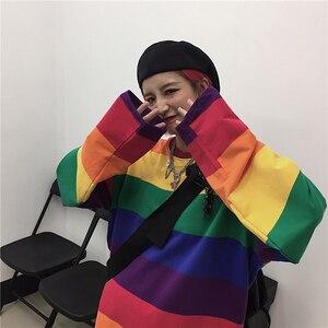 Harajuku mulheres arco-íris o-pescoço t camisa vogue solto manga longa feminino topos camisetas casuais senhoras coreanas retalhos tshirt