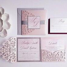 Высокое качество свадебные пригласительные открытки сохранить дату лазерное искусство жемчужно-белый карман 150*150 мм, индивидуальные приглашения