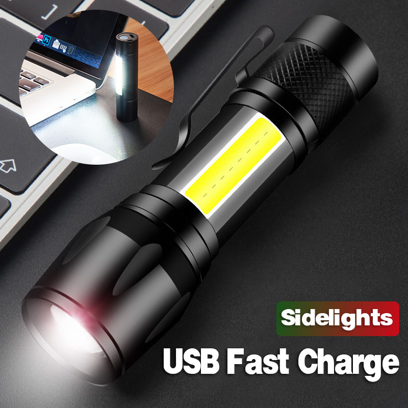 Led Flashlight Mini Rechargeable Torch Usb Lantern Xpe Cob Tactical Flashlight Camping Hunting Lamp Built-in Lithium-ion Battery