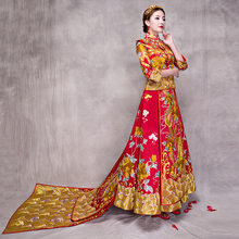 Traditional Embroidery Qipao Women 2pcs Set Luxurious Bride Wedding Trailing Dress Vintage Exquisite Cheongsam Chinese Style(China)