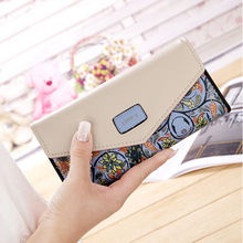 2019 New Fashion Flowers Envelope Women Wallet Hot Sale Long Leather Wallets Popular Change Purse Casual Ladies Cash Purse