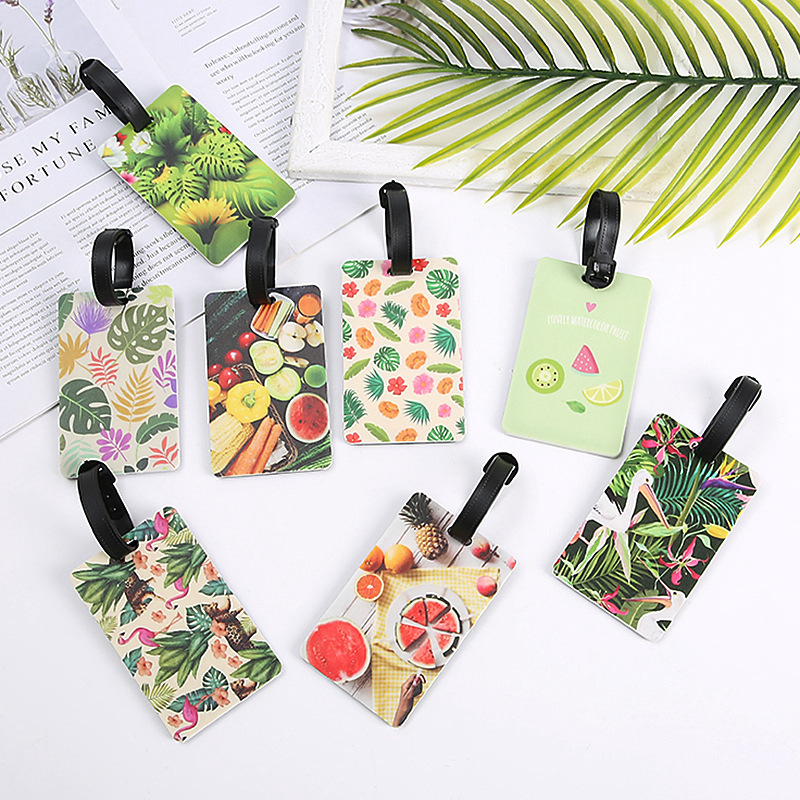 Creative Plant Flower Luggage Tags Portable PVC Suitcase Holder ID Address Travel Accessories Women Baggage Boarding Label