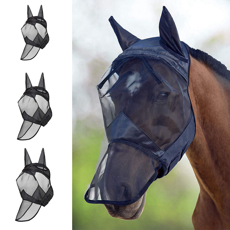 Pet Supplies Horse Detachable Mesh Mask With Nasal Cover Horse Fly Mask Horse Full Face Mask Anti-mosquito Nose