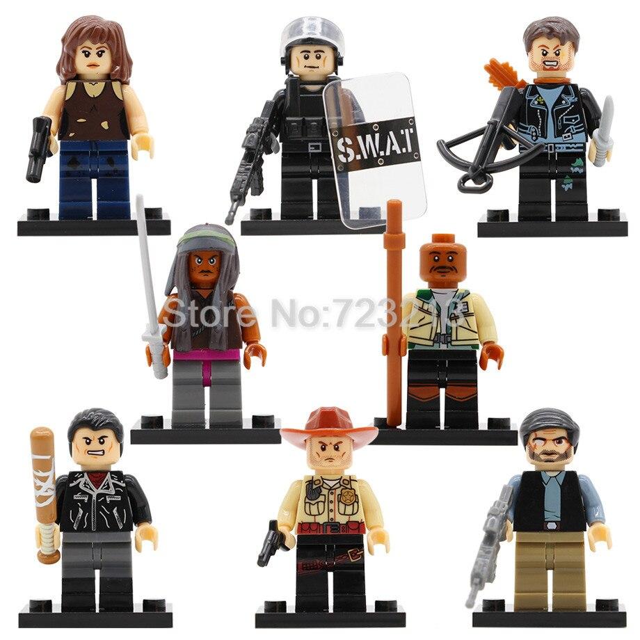 8pcs Maggie TV Walking Dead Figure Set Negan Rick Grimes Daryl Dixon Dexter Morgan Maggie Green Building Block Zombie Model Toys