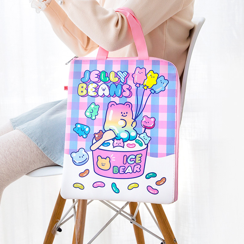 Cartoon Women Leather File Tote Handbag Document Holder Zipper File Bag PU Waterproof Ipad Pro 13.3