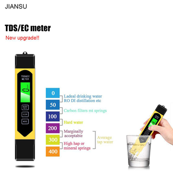 JIANSU Portable LCD Digital  TDS/EC Meter 0.01 + TDS EC Tester Pen Water Purity PPM Filter Hydroponic for Aquarium Pool Wine 1pcs tds meter filter pen new lcd digital temp ppm tester stick water purity calibrate by hold temp botton 21% off