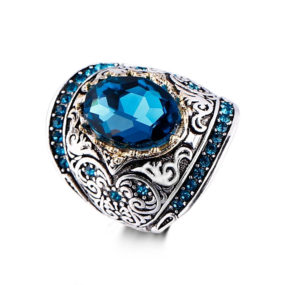 Bague Ringen 925 Silver Jewelry Vintage Rings For Women Men 10x14mm Aquamarine Gemstone Ring Anniversary Fine Jewlery Gifts 5