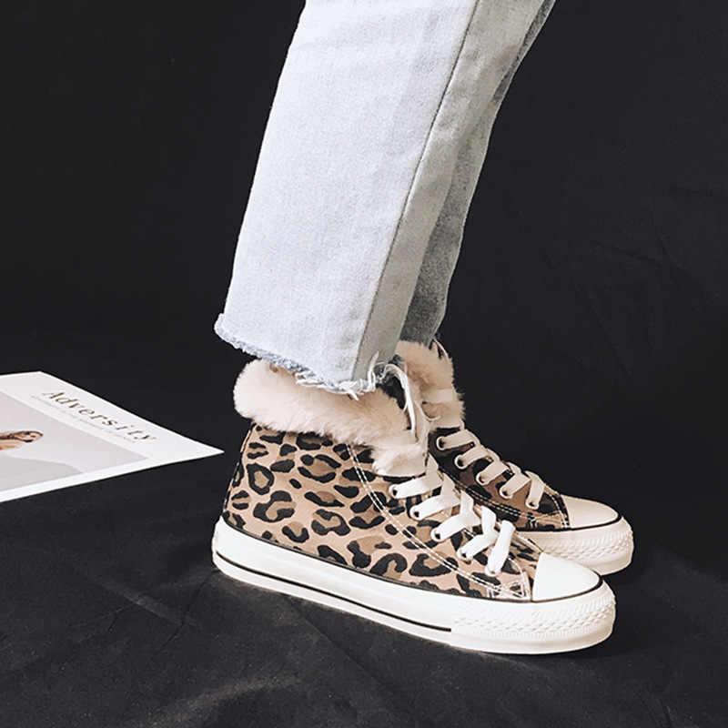 2019  Leopard high-cut women's cotton shoes warm velvet casual female winter cotton sneakers with platform girl vulcanize shoe